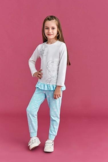 Frozen Karlar Ülkesi - Frozen Lisanslı Kız Çocuk Pijama Takımı Somon Krem